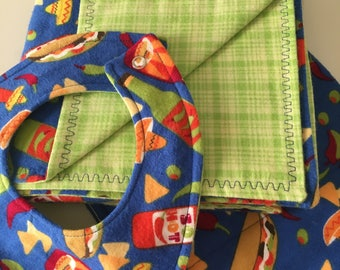 Tacos Flannel Baby Blanket, Burp Cloth and Bib