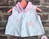 Vintage baby shirt baby girl vintage pretty girl shirt butterfly girl top vintage birthday gift vintage girl top pink gingham shirt