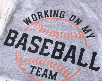 Customizable Working on my Baseball Team T-Shirt, Pregnancy Announcement, Baby Shower Gift, Gift for New Dads, Maternity Apparel