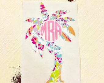 Palm Tree Summer Floral Monogram Decal Sticker