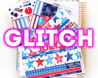 GLITCH - July Monthly Kit (stickers for Erin Condren Life Planner - Vertical)