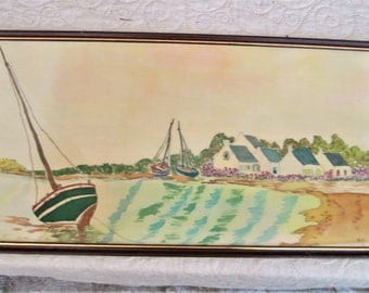 Vintage French Watercolor, paintings on silk, country french, watercolors of the sea, boat paintings, marine scenes