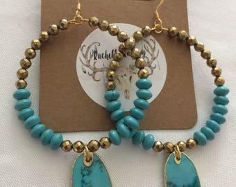 Turquoise/gold beaded earrings