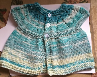"Hand Knitted Newborn 16"" Chest Cardigan (Girls) Shades of Aqua & Lemon"