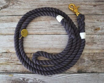 Rope Leash - Charcoal // Dog Leash // Dog Lead // Rope Dog Leash // Whipped Spliced // Cotton Rope // Hand Dyed // Brass // Stainless Steel