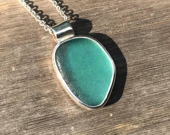 Beautifully Shaped Flawless Teal Sea Glass Necklace