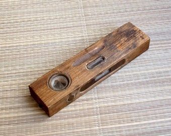 Vintage wooden level,Rustic wood level,Wooden level tool,Bubbles tool