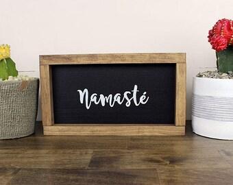 "Handmade Wooden Sign, ""Namaste"" Yoga Studio Sign, Yoga Decor, Home Decor, Hand-made Yoga Sign, Namaste"