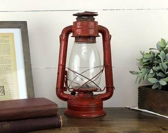 Vintage No. 5000 Oil Lantern, Vintage Oil Lamp, Vintage Lantern, Red Metal Lantern, Red Metal Oil Lamp, Made In Japan, Sun Brand 1950's Lamp