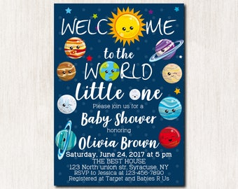 Space theme baby shower invitations, Solar system, Baby Sprinkle Invitation, Baby Shower invitation, Baby Sprinkle invitation - 1671