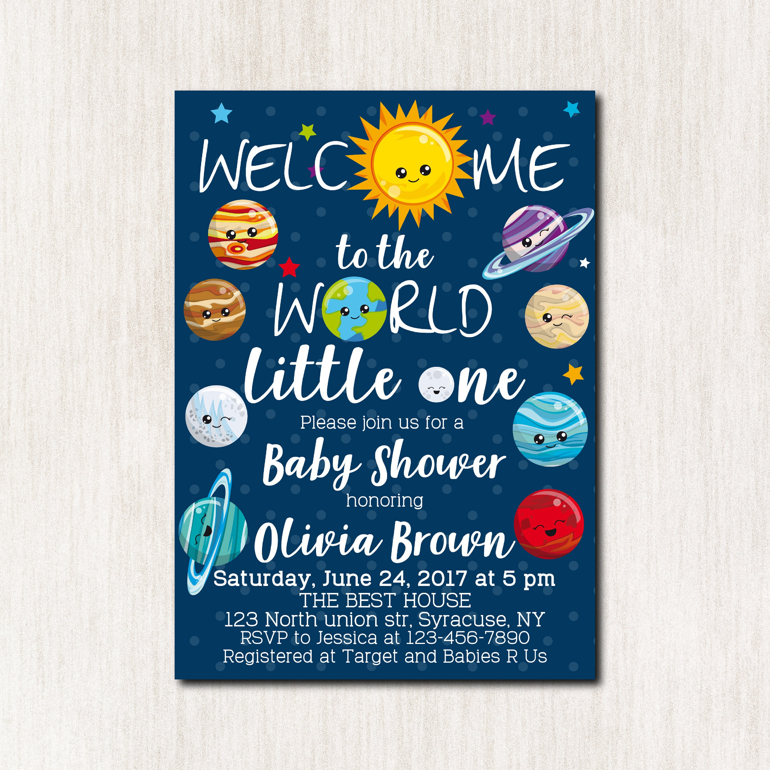 Space theme baby shower invitations solar system baby for Space themed stationery