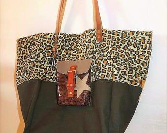 Golden leopard/Khaki, Pocket style pomponette stars tote bag