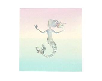 Mermaid Napkins x 12 | Mermaid Party Decor | Girls Birthday Party Decor | Iridescent Party Decor | Pink Party Decor | Mermaid Tableware