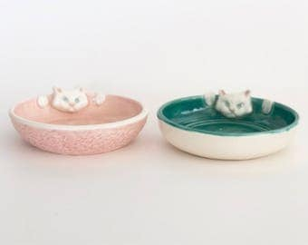Handmade Ceramic Cat Jewelry Dishes