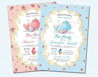 Digital Printable Baby Shower invitation. Tea Party. Baby Shower Tea Party