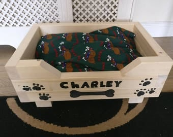 Handmade wooden dog Bed personolised