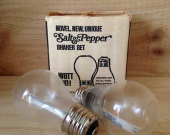 Vintage Novel Light Bulb Salt and Pepper Shakers with Box