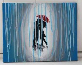 Rainy Couple Acrylic Canvas Painting