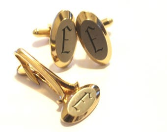 Hickok Gold Initial E Cuff Links and Tie Clip