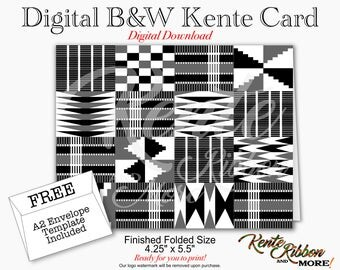"""DIY - Printable B&W Digital Kente Note Card and A2 Envelope Template - Card size: 5.5"""" x 4.25"""" (1-up on 8.5"""" x 11"""") - JPG Files - Download"""