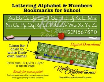 "DIY - Print Alphabet Bookmarks - Back To School - Digital Download - Trim Size 6.5""x1.75"" (Print on 8.5"" x 11"") JPG PNG Files"