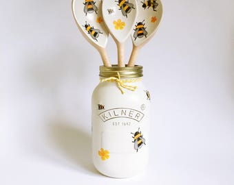 Hand painted and decoupaged bee kilner jar • desk decor • home decor • bumble bee