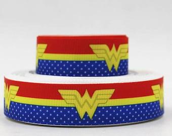 """Wonder Women Grosgrain 7/8"""" Printed Ribbon, Super Hero Ribbon"""