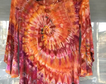 Ladies Tie-Dyed Bell Sleeve Top, Size S