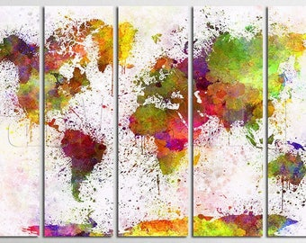 Abstract world map etsy bright watercolor abstract world map diptych triptych multi panel canvas print gallery wrap gicle art dcor gumiabroncs Images
