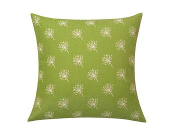 White dandelion throw pillow covers Small dandelion decorative pillow case Olive green cushion cover Dandelion cushion case Home decor 18x18