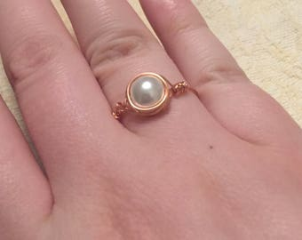 Wire wrapped glass pearl bead ring