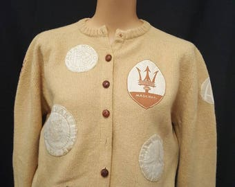 Vintage 50s JAMES KENROB Camel Hair Cardigan Sweater Luxury Auto Racing Patches