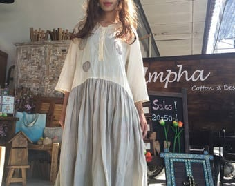 A004 Lovely  cotton dress comfortable with two shade with hand stitching and half length sleeves for everyday wear