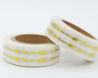 Foil Washi Tape - Golden arrows - Christmas gift - packaging - decoration - wedding