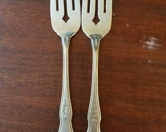 Two stainless steel  salad forks.  'MORNING BLOSSOM' by Oneida