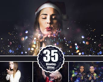 35 Blowing glitter photoshop overlays, confetti, bokeh, magic pixie dust light effect, photoshop photo overlay, jpg file