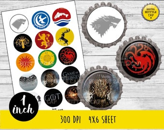 COD174-50% OFF SALE Game Of Throne Digital Collage Sheet-1 inch Bottlecap-Printable Image Download for pendants magnets party bottle cap