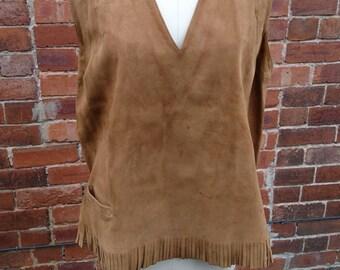 Gorgeous 60's vintage real suede fringed vest, 60's fringed suede vest top, Boho, hippie, festival, native, 60's fringed suede vest