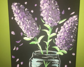 Purple Flowers in a Jar Painting