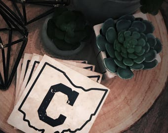 Block C Cleveland Ohio coasters (set of 4)