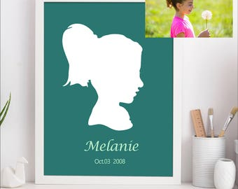 Custom Silhouette Picture - Custom Silhouette Portrait, digital download, Child Portrait, Kids Silhouette, Unique Gift, Printable Image File