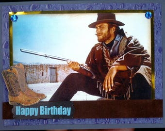 Clint Eastwood Blue Birthday Card