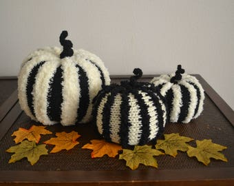 Fall Decor Knitted Stripped Black Off White Pumpkins Ornaments  (Set of 3)