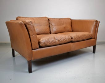 Mid Century Retro Vintage Danish Tan Brown Leather 2 Seater Sofa Couch 1960s 70s