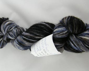 25% Silk - Harbour Yarn - Denim colourway - Black and Blue - Handpainted in Canada - 75 Percent Blue Faced Leicester Wool -Sport Weight #431
