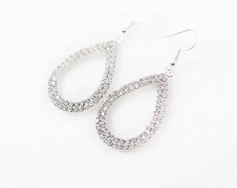 Crystal teardrop earrings Vintage silver bridal earrings rhinestones, pageant earrings
