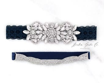 Wedding Garter, NO SLIP Lace Wedding Garter Set, bridal garter set, vintage rhinestones, pearl and rhinestone garter set