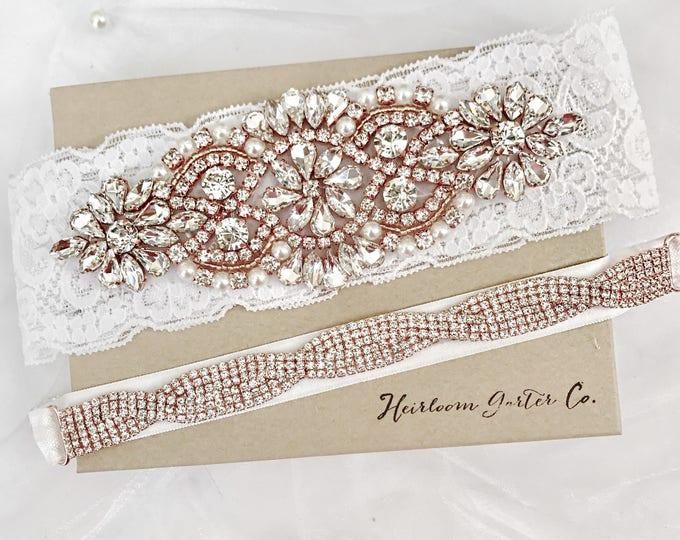 Wedding garter, rose gold Wedding Garter Set NO SLIP grip vintage rhinestones bridal garter