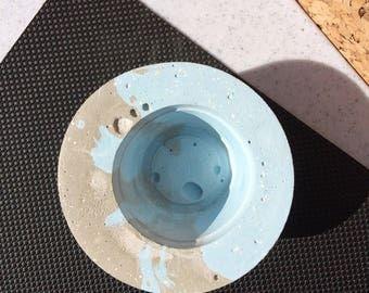 Blue Grey Concrete Pot