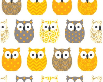 Fabric mini yellow OWL - owls - owl fabric - fabric fabric birds - Scandinavian fabric - fabric cotton oeko tex - sold by 50 CM